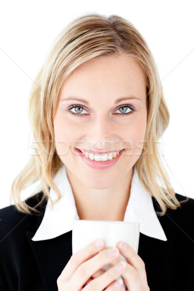 Portrait femme d'affaires tasse café blanche heureux Photo stock © wavebreak_media