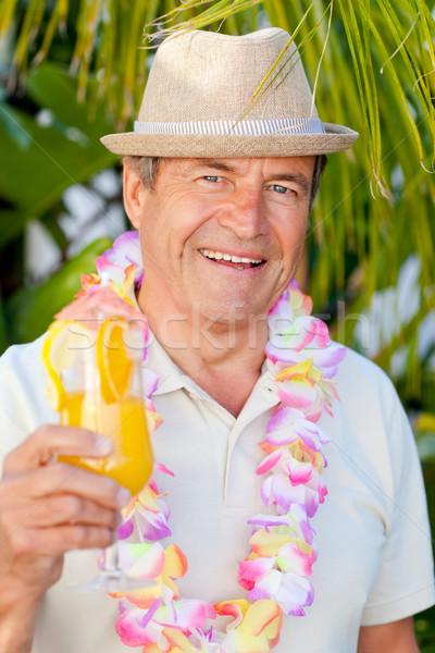 Volwassen man drinken cocktail zon gelukkig reizen Stockfoto © wavebreak_media