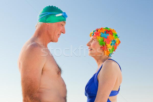 влюбленный пожилого пару пляж женщину девушки Сток-фото © wavebreak_media