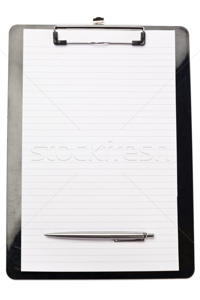 Pen at the bottom of note pad on a white background Stock photo © wavebreak_media