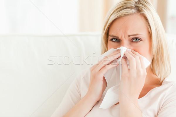 Doente mulher assoar o nariz sala de estar casa cozinha Foto stock © wavebreak_media