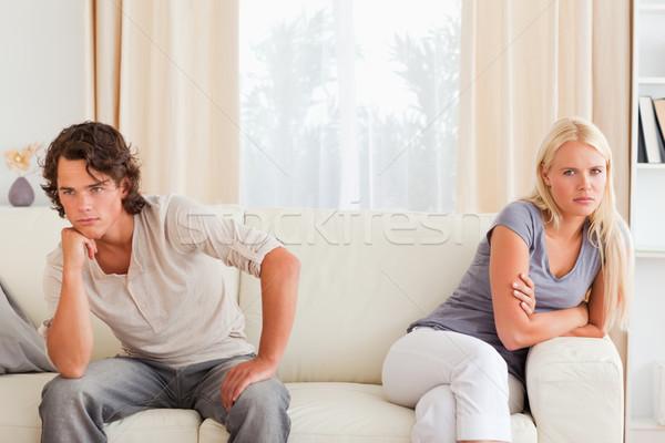 çift oturma kanepe değil bakıyor diğer Stok fotoğraf © wavebreak_media