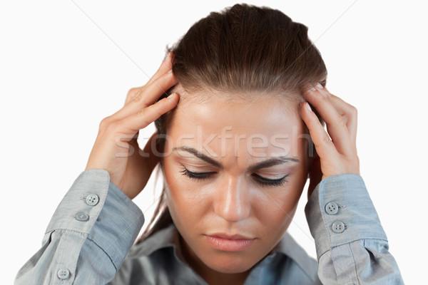 Közelkép lehangolt üzletasszony fehér üzlet arc Stock fotó © wavebreak_media