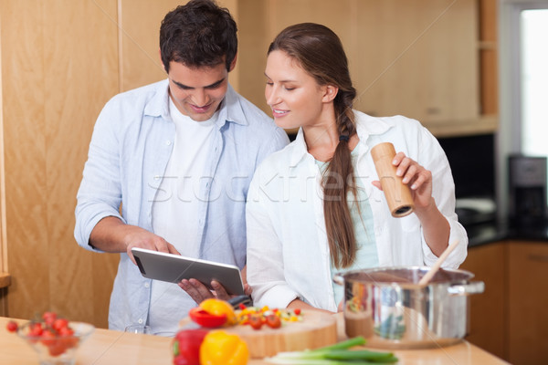 любви пару Кука кухне счастливым Сток-фото © wavebreak_media