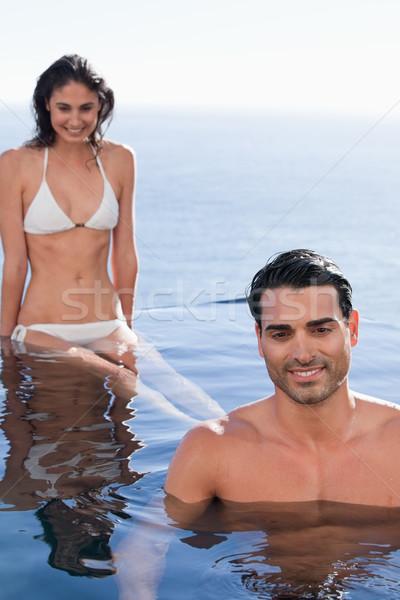 Portret ontspannen zwembad water gezicht Stockfoto © wavebreak_media
