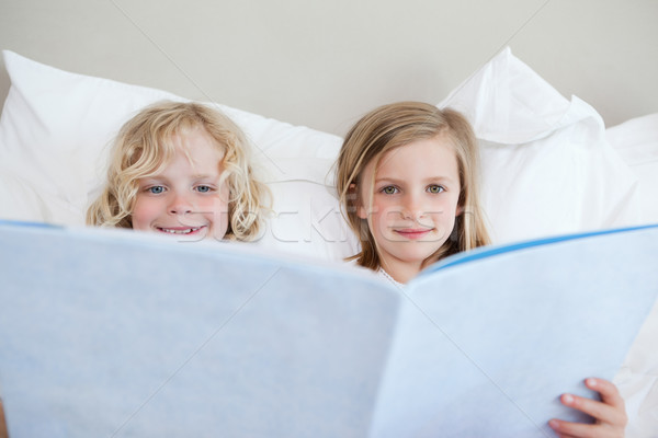 Brother and sister reading bedtime story together Stock photo © wavebreak_media