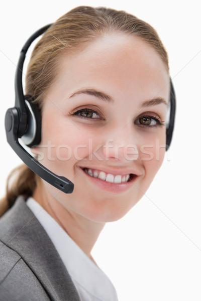 Zdjęcia stock: Uśmiechnięty · kobiet · call · center · agent · pracy · biały