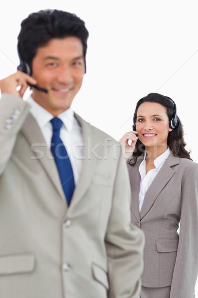笑みを浮かべて 白 女性 男 ストックフォト © wavebreak_media