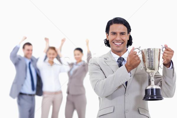 Człowiek garnitur uśmiechnięty kubek Zdjęcia stock © wavebreak_media