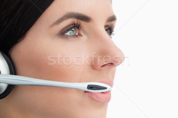 Vert femme casque blanche Photo stock © wavebreak_media