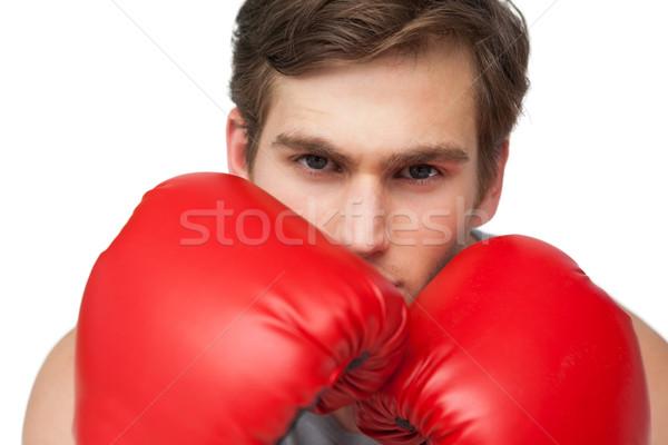 соответствовать человека красный боксерские перчатки белый Сток-фото © wavebreak_media
