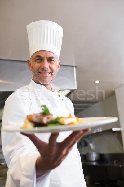 Férfi szakács főtt étel konyha portré Stock fotó © wavebreak_media