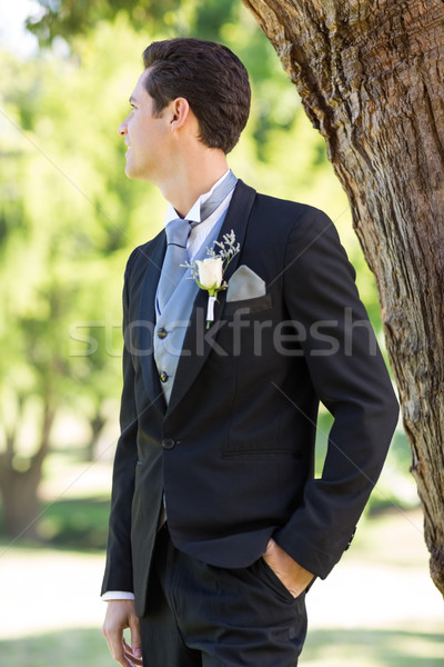 Bridegroom looking away in garden Stock photo © wavebreak_media