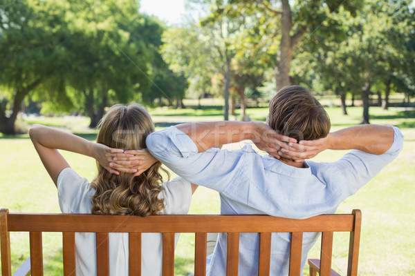 Couple relaxing on park bench together Stock photo © wavebreak_media