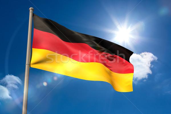 Германия флаг флагшток Blue Sky солнце свет Сток-фото © wavebreak_media