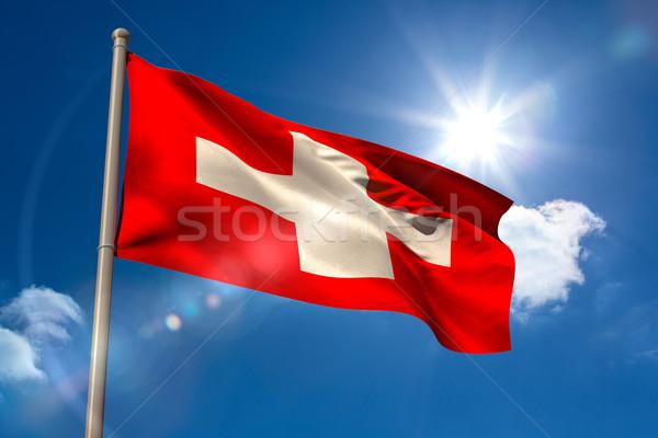 флаг флагшток Blue Sky солнце свет цифровой Сток-фото © wavebreak_media