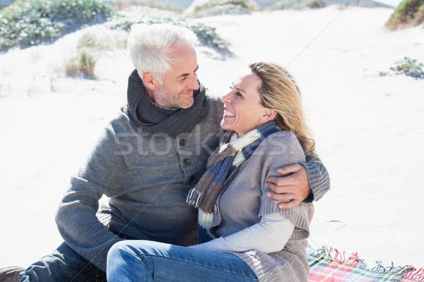 беззаботный пару пикника пляж ярко Cool Сток-фото © wavebreak_media