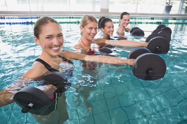 Glimlachend vrouwelijke fitness klasse aerobics Stockfoto © wavebreak_media