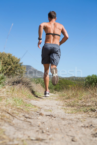 Shirtless Mann Joggen Herzschlag Monitor herum Stock foto © wavebreak_media