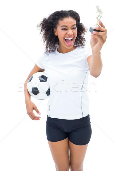 Stock fotó: Csinos · futballista · fehér · néz · nyertesek · szobrocska