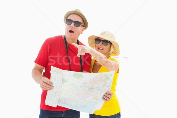 Gelukkig toeristische paar kaart witte teken Stockfoto © wavebreak_media