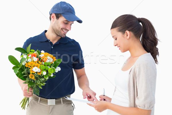 Boldog virág futár vásárló fehér munka Stock fotó © wavebreak_media