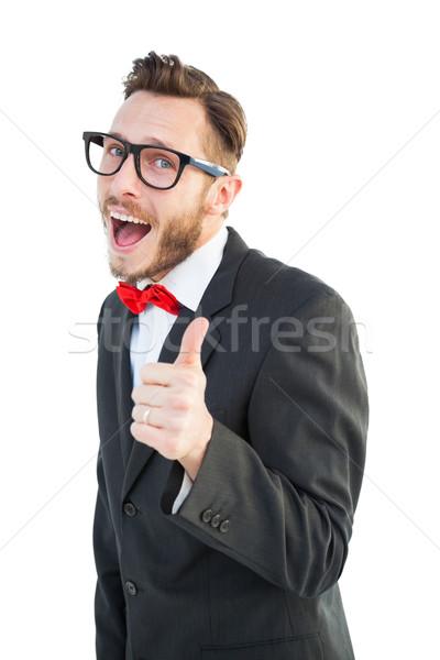 ヒップスター ポインティング カメラ 白 通信 笑みを浮かべて ストックフォト © wavebreak_media