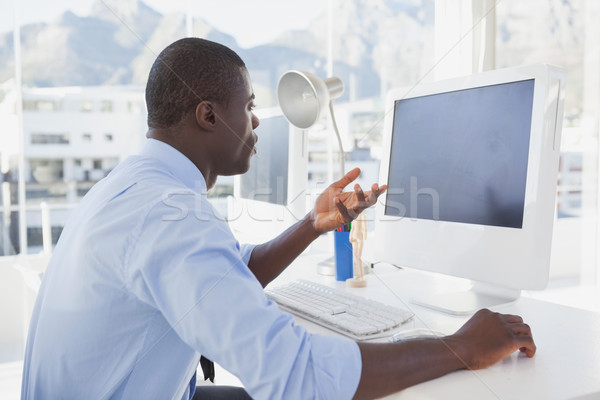 Foto stock: Centrado · empresario · de · trabajo · escritorio · vídeo · chat