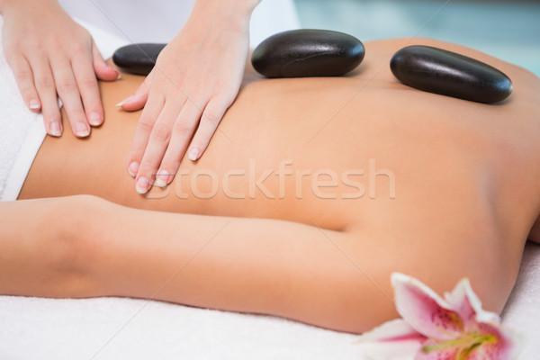 Mooie vrouw steen massage gezondheid boerderij zijaanzicht Stockfoto © wavebreak_media