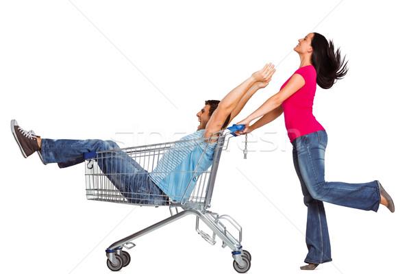 Fiatal pér szórakozás bevásárlókocsi fehér szeretet jókedv Stock fotó © wavebreak_media