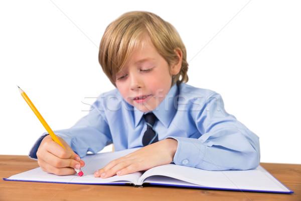 Student piśmie zauważa notatnika biały szkoły Zdjęcia stock © wavebreak_media