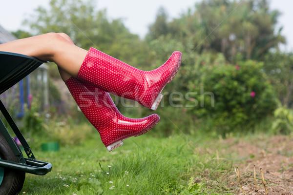 Woman in welly boots in wheelbarrow Stock photo © wavebreak_media