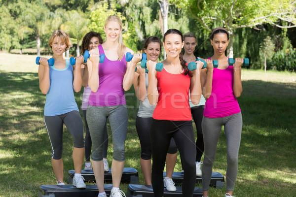 фитнес группа стороны весов парка Сток-фото © wavebreak_media