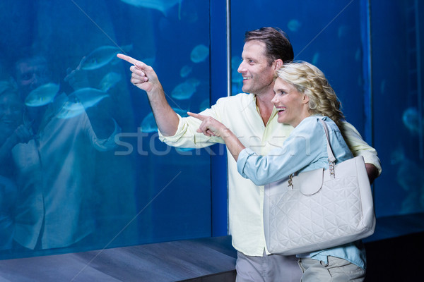 幸せ カップル ポインティング 魚 タンク 水族館 ストックフォト © wavebreak_media