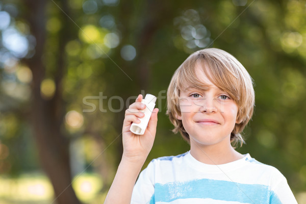 Little boy using his inhaler Stock photo © wavebreak_media