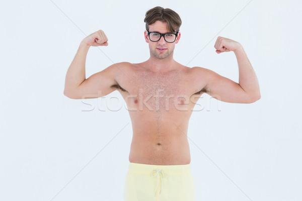 Geeky hipster posing topless Stock photo © wavebreak_media
