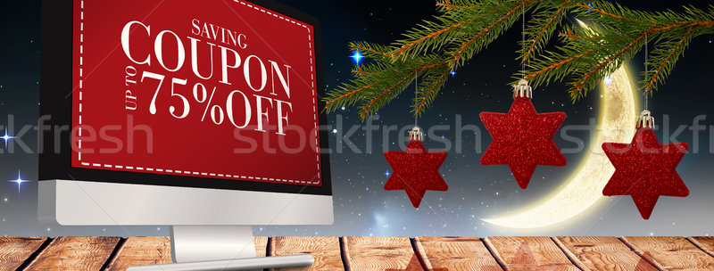 Composite image of star decorations on tree Stock photo © wavebreak_media