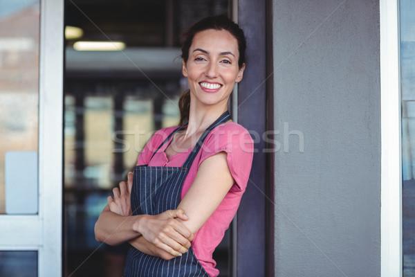 Bastante camarera pared panadería mujer Foto stock © wavebreak_media