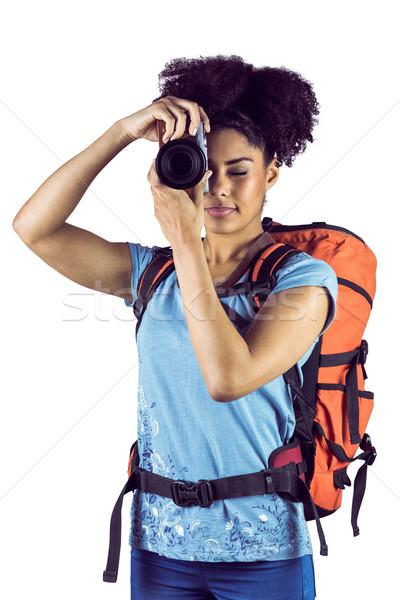 Mulher jovem mochila quadro branco viajar Foto stock © wavebreak_media