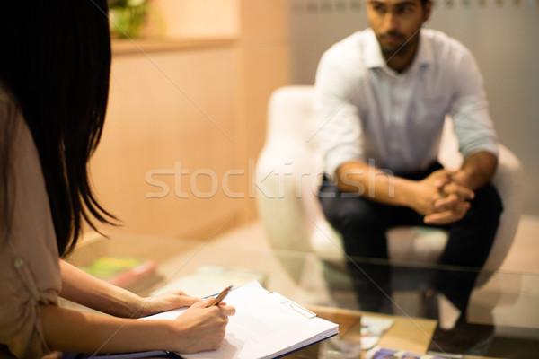 Foto stock: Empresária · escrita · clipboard · discutir · masculino · colega