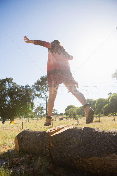 Woman walking on a tree trunk in the park Stock photo © wavebreak_media