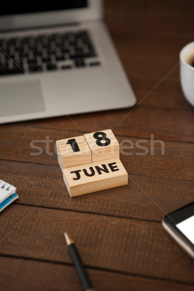 Calender date with laptop on table Stock photo © wavebreak_media