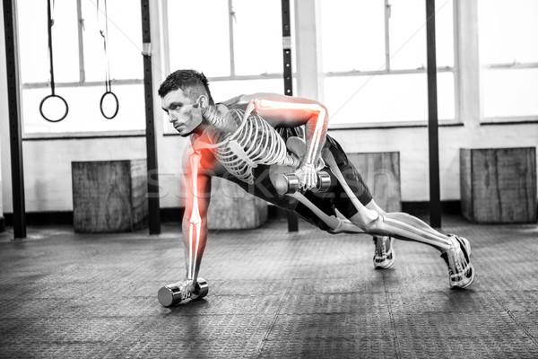 Test erős férfi emel súlyok tornaterem Stock fotó © wavebreak_media