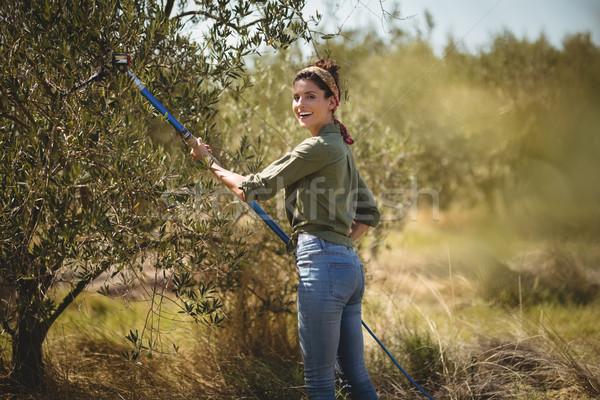 Sorridente mulher jovem oliva ancinho fazenda retrato Foto stock © wavebreak_media