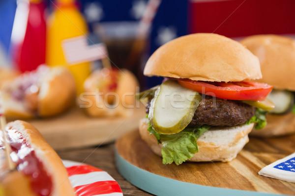 Fa asztal negyedike közelkép étel ital piros Stock fotó © wavebreak_media