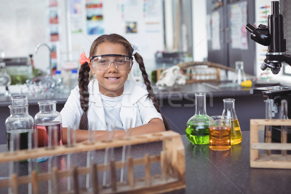 Portrait of elementary student wearing protective eyewear at laboratory Stock photo © wavebreak_media