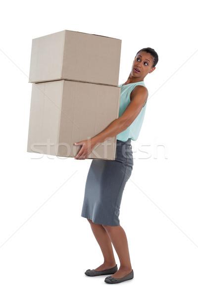 Mujer de negocios pesado cajas blanco verde Foto stock © wavebreak_media