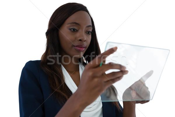 小さな 女性実業家 インターフェース 画面 立って 白 ストックフォト © wavebreak_media
