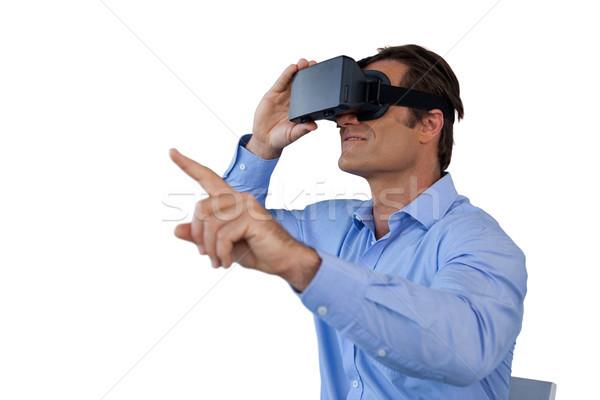 бизнесмен виртуальный реальность человека синий Сток-фото © wavebreak_media