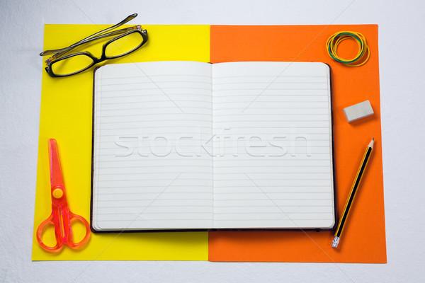 различный канцтовары белый ножницы дневнике Сток-фото © wavebreak_media